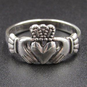 Size 7.25 Sterling Simple Claddagh Promise Ring